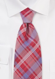 Red and Blue Checkered Tie