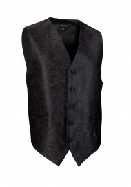 Shiny Jet Black Mens Dress Vest with Paisley Textured Design