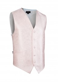 Shiny Wedding Paisley Textured Vest in Soft Blush Pink