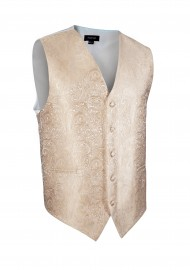 Paisley Textured Formal Vest in Golden Champagne