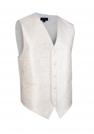 Ivory Off-White Wedding Vest with Paisley Textured Design