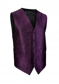 Paisley Textured Designer Vest in Berry Purple