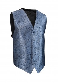 Paisley Textured Dress Vest in Steel Blue