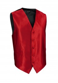 Formal Textured Dress Vest in Bright Ruby Red