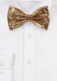 Metallic Glitter Bow Tie in Rose Gold