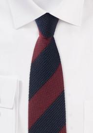 Knit Textured Designer Tie in Navy and Burgundy