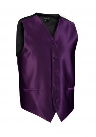 Plum Purple Textured Dress Vest Prom Wedding