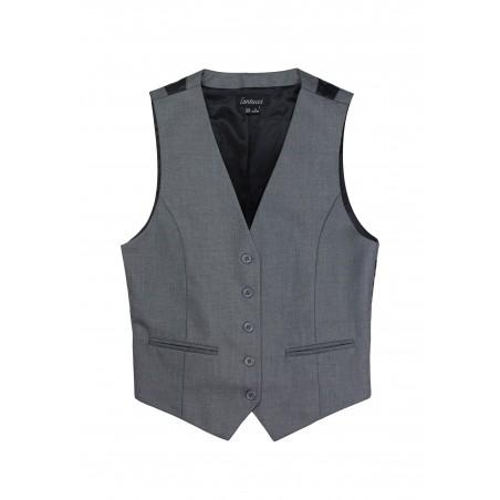 Womens Suit Vest in Medium Gray Front