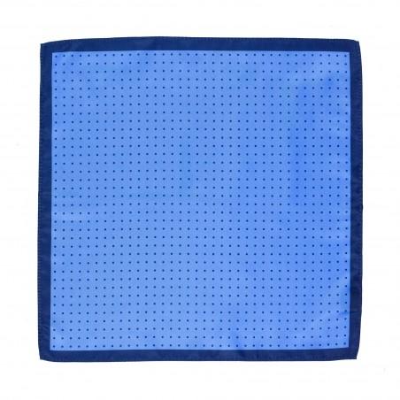 Sky Blue Pocket Square with Navy Polka Dots