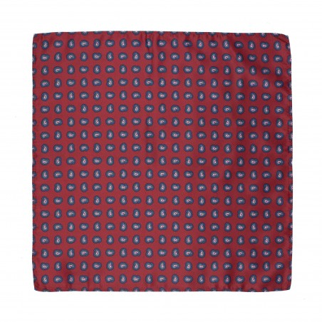 Wine Red Hanky with Paisley Print in Pink and Blue