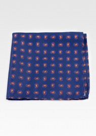 Contemporary Paisley Print Hanky in Dark Blue