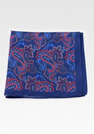 Dress Pocket Square in Blue with Red Paisley