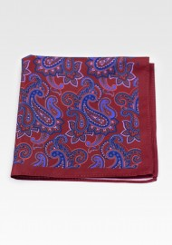 Traditional Paisley Design in Wine Red and Navy