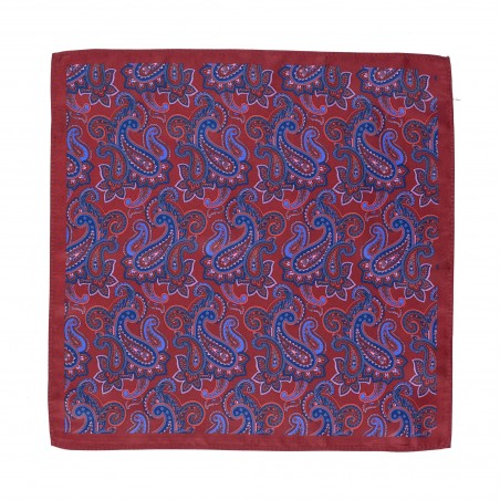 Traditional Paisley Design in Maroon Red and Navy