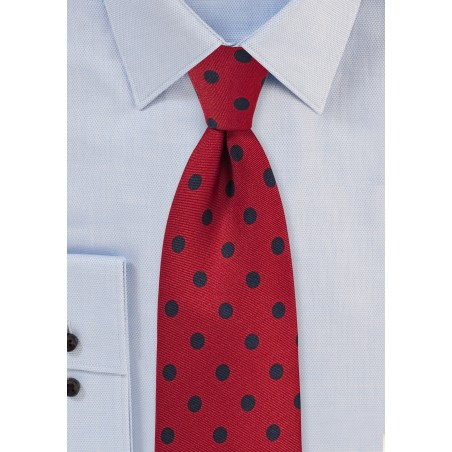 Apple Red and Navy Blue Polka Dot Tie