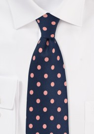 Navy and Pink Polka Dot Tie