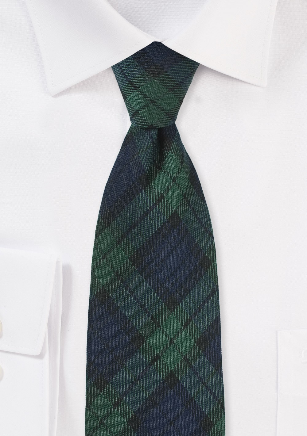 Wool Tartan Plaid Tie in Green and Navy