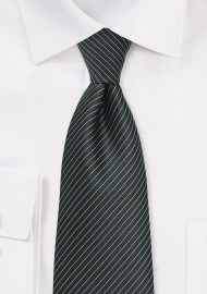 Charcoal Gray and Silver Pencil Stripe Tie