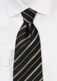 Black, Copper, Bronze Striped Kids Tie