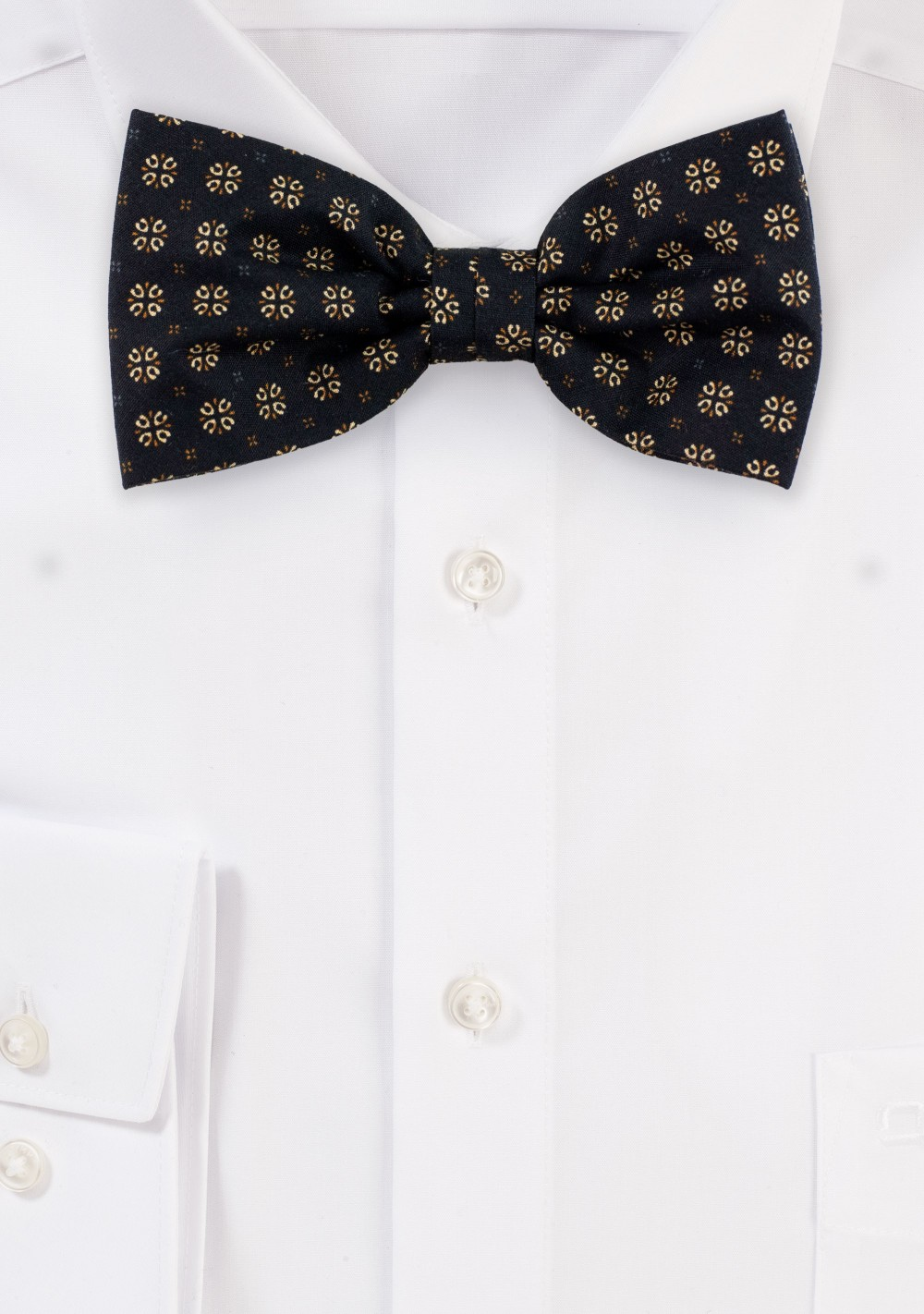 Black and Gold Geometric Print Bow Tie