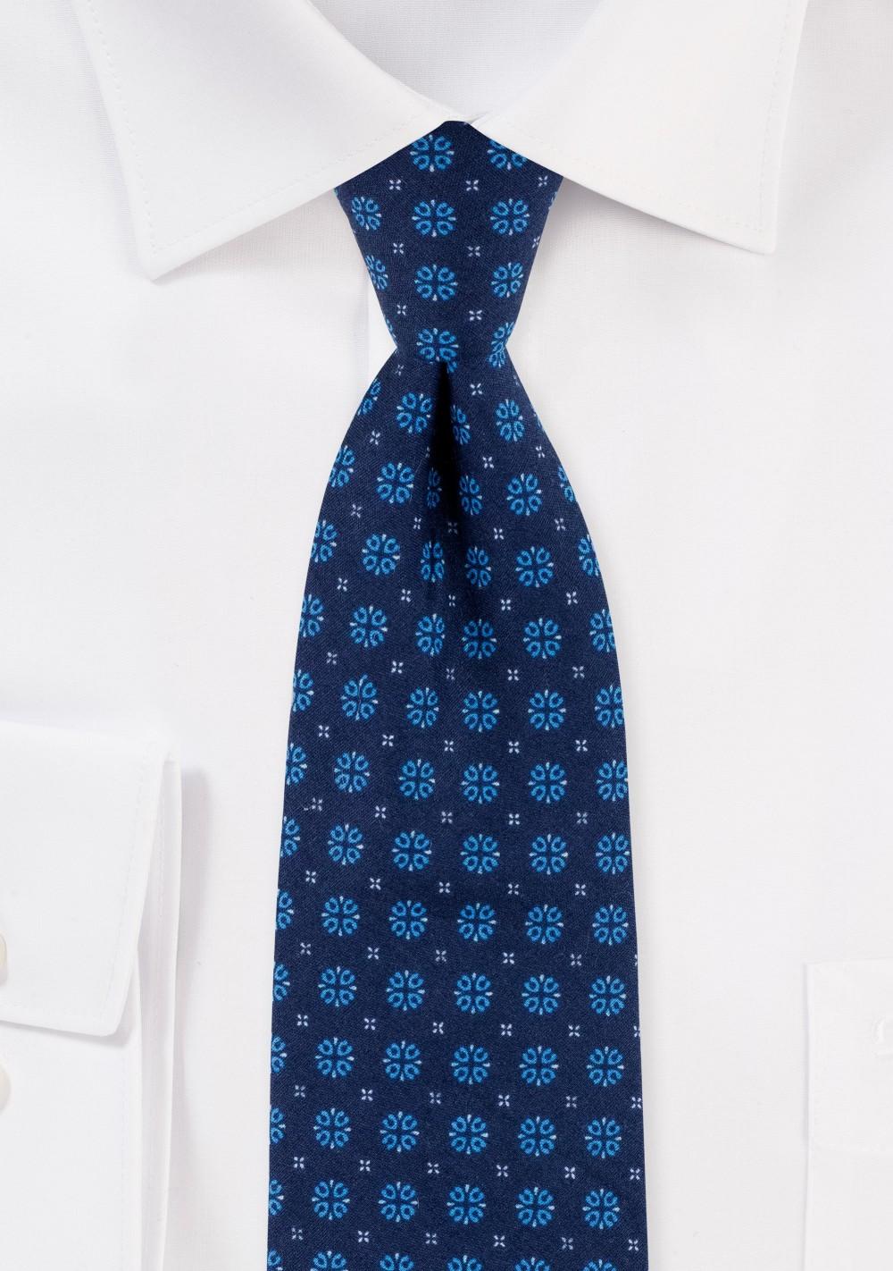 Slim Cut Cotton Tie in Navy with Geometric Design Print