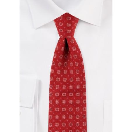 Slim Cut Geometric Design Print Tie in Cherry Red