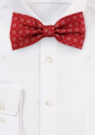 Cherry Red Geometric Print Bow Tie in Cotton