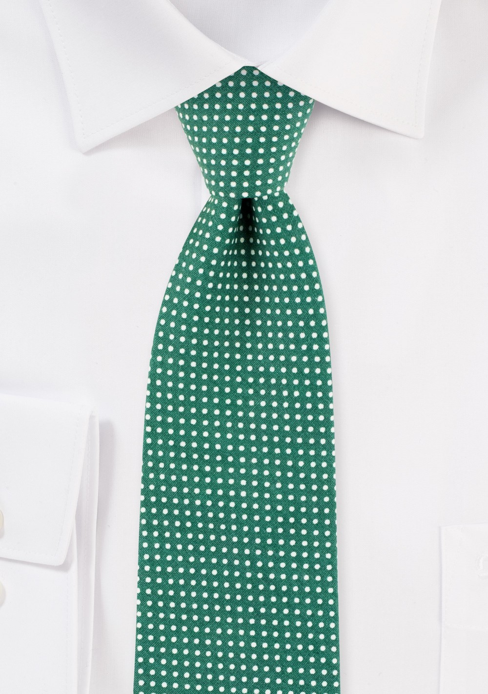 Kelly Green Slim Cut Cotton Tie with Micro Dots