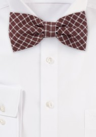 Window Pane Check Cotton Bow Tie in Cognac Brown