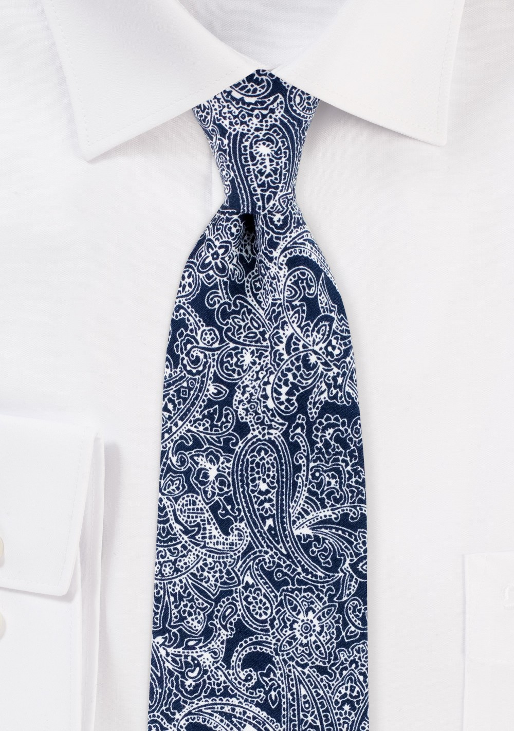 Bandana Style Paisley Print Cotton Tie in Navy and White