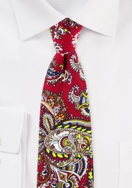 Red and Gold Paisley Print Cotton Tie in Slim Width