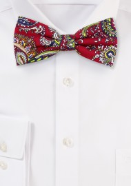 Cherry Red and Gold Paisley Bowtie in Cotton