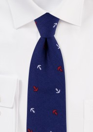 Navy Nautical Themed Tie with Red and White Anchor Print