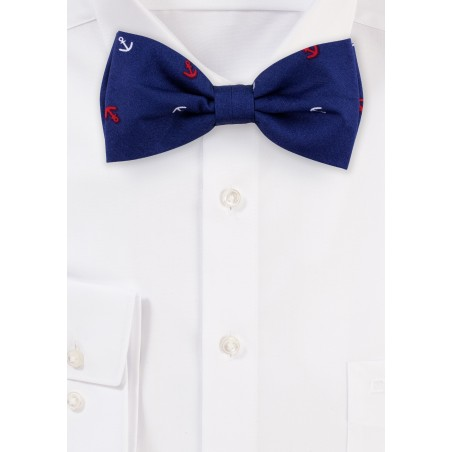 Nautical Print Cotton Bow Tie in Navy