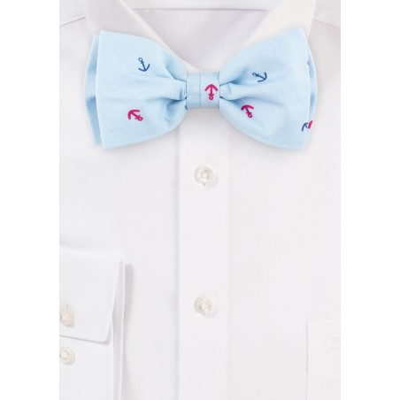Light Sky Blue Anchor Print Bow Tie in Cotton