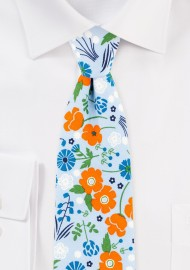 Sky Blue and Orange Floral Cotton Tie in Slim Width