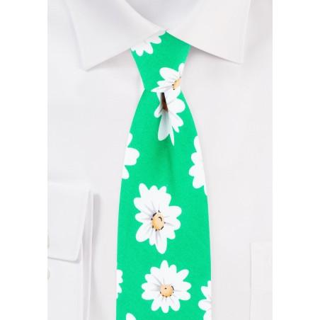 Daisy Flower Print Summer Tie in Cotton