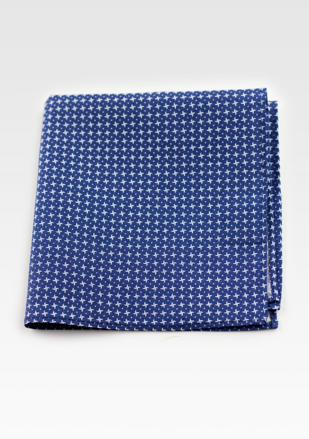 Cotton Pocket Square in Royal Blue with Geometric Print Pattern