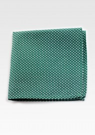 Cotton Pocket Square in Kelly Green with Micro Dots
