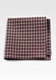 Cotton Square Pocket in Brown with Window Pane Check