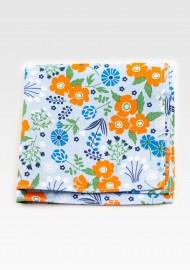 Floral Pocket Square in Light Blue and Orange