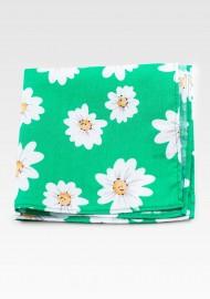 Daisy Flower Print Pocket Square in Spring Green