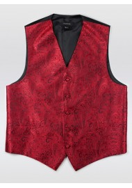 Paisley Formalwear Vest in Ruby Red