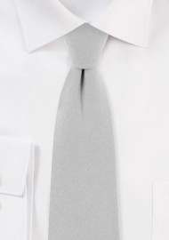 Silver Gray Cotton Skinny Tie