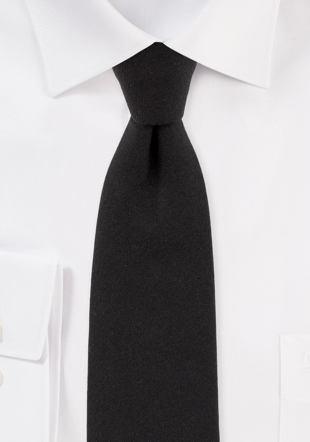 Matte Black Slim Cut Mens Tie in Cotton