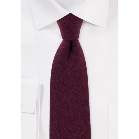 Solid Burgundy Cotton Tie with Herringbone Weave