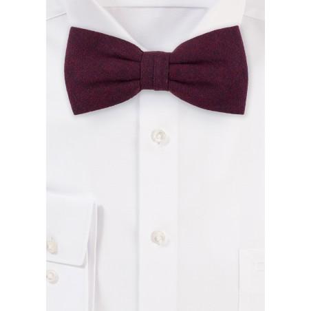 Burgundy Red Matte Textured Bow Tie