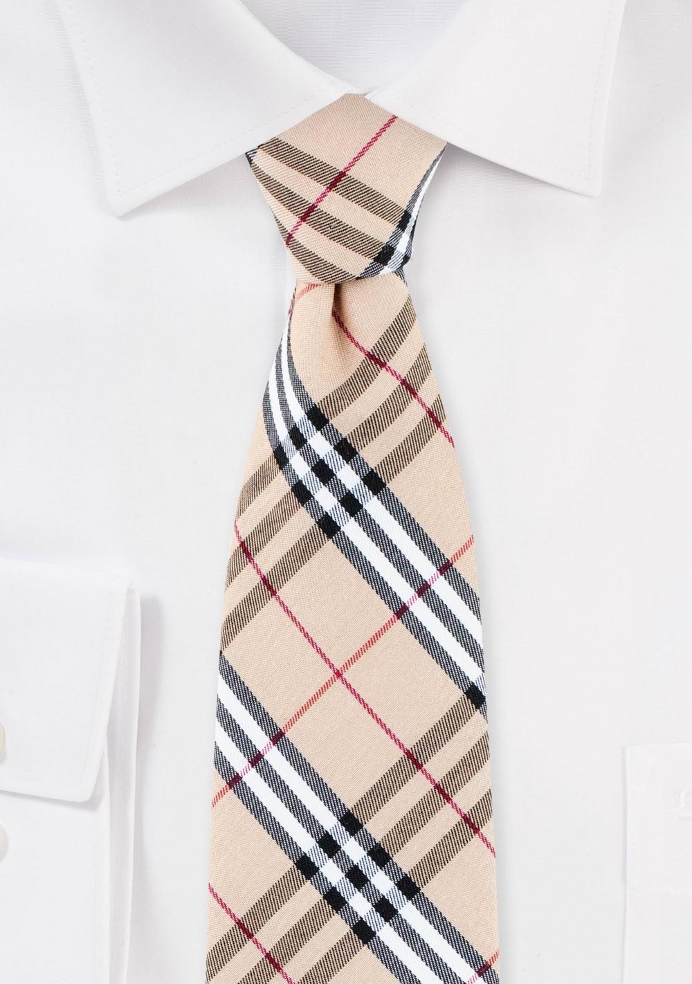 Tan Tartan Plaid Cotton Summer Tie
