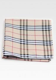 Designer Tartan Pocket Square in Tan