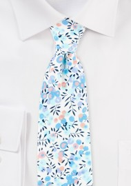 Blue and Aqua Floral Summer Tie in Cotton